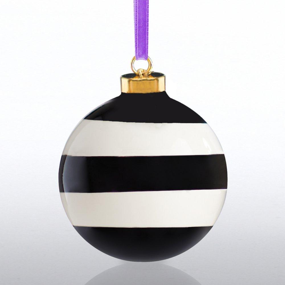 Holiday Cheer Ceramic Bulb - Happy Holidays - Stripes