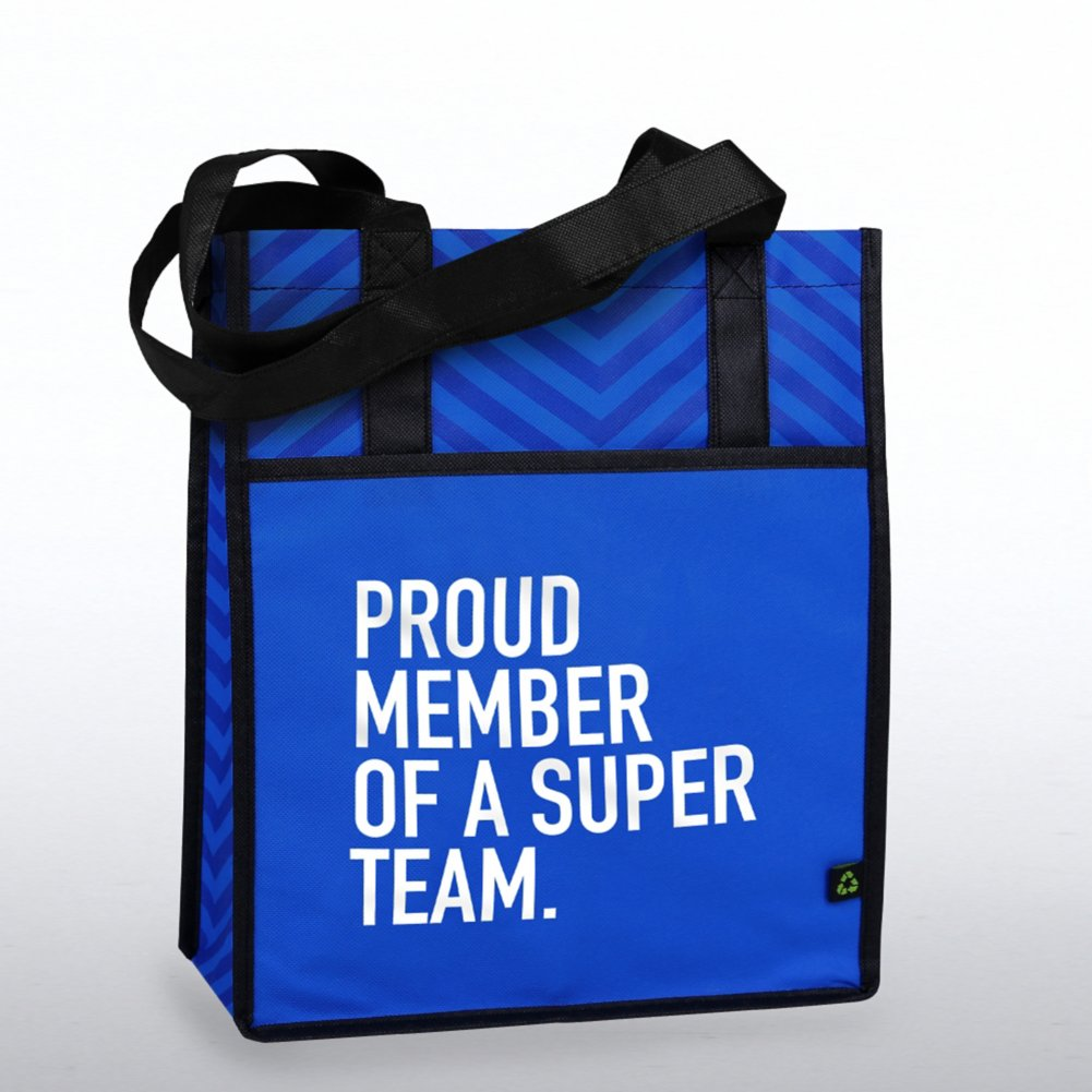 Chevron Shopper Tote - Proud Member of a Super Team