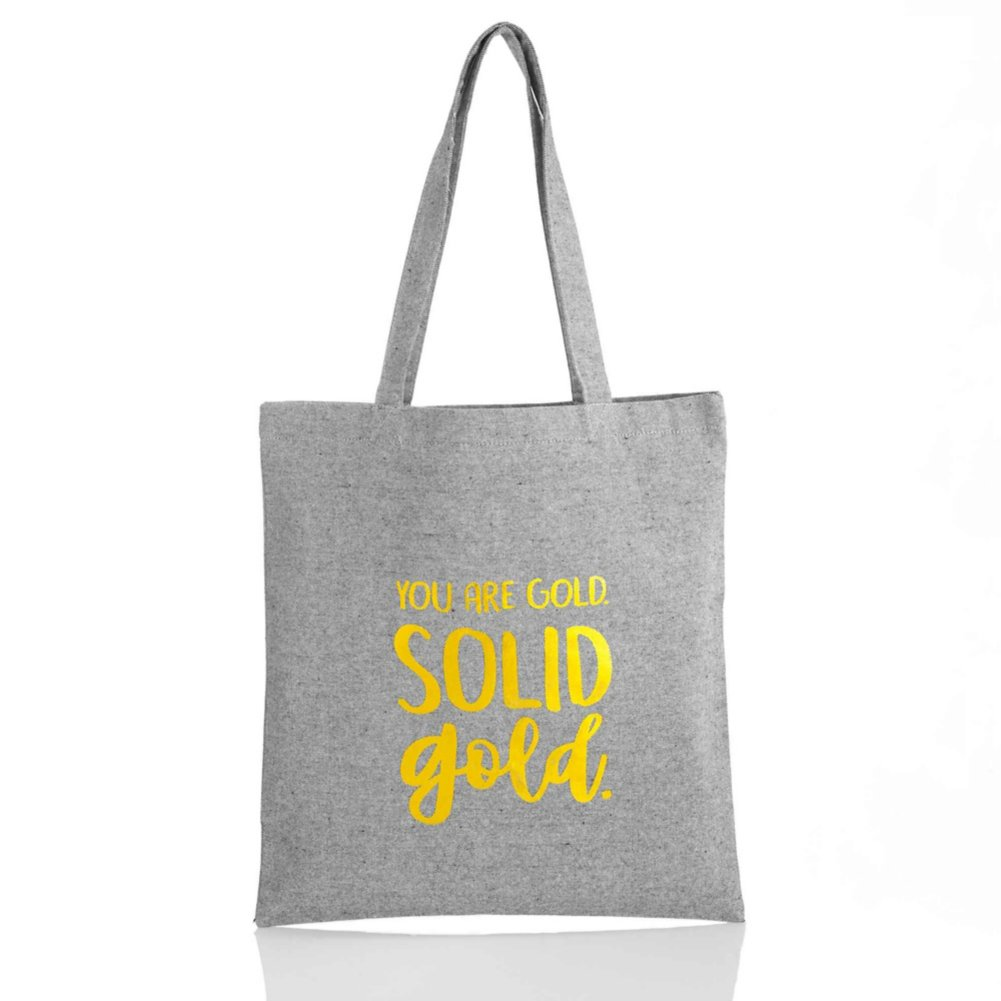 View larger image of Heathered Tweed Metallic Tote - You Are Gold. Solid Gold.