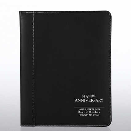 Genuine Leather Padfolio - Black