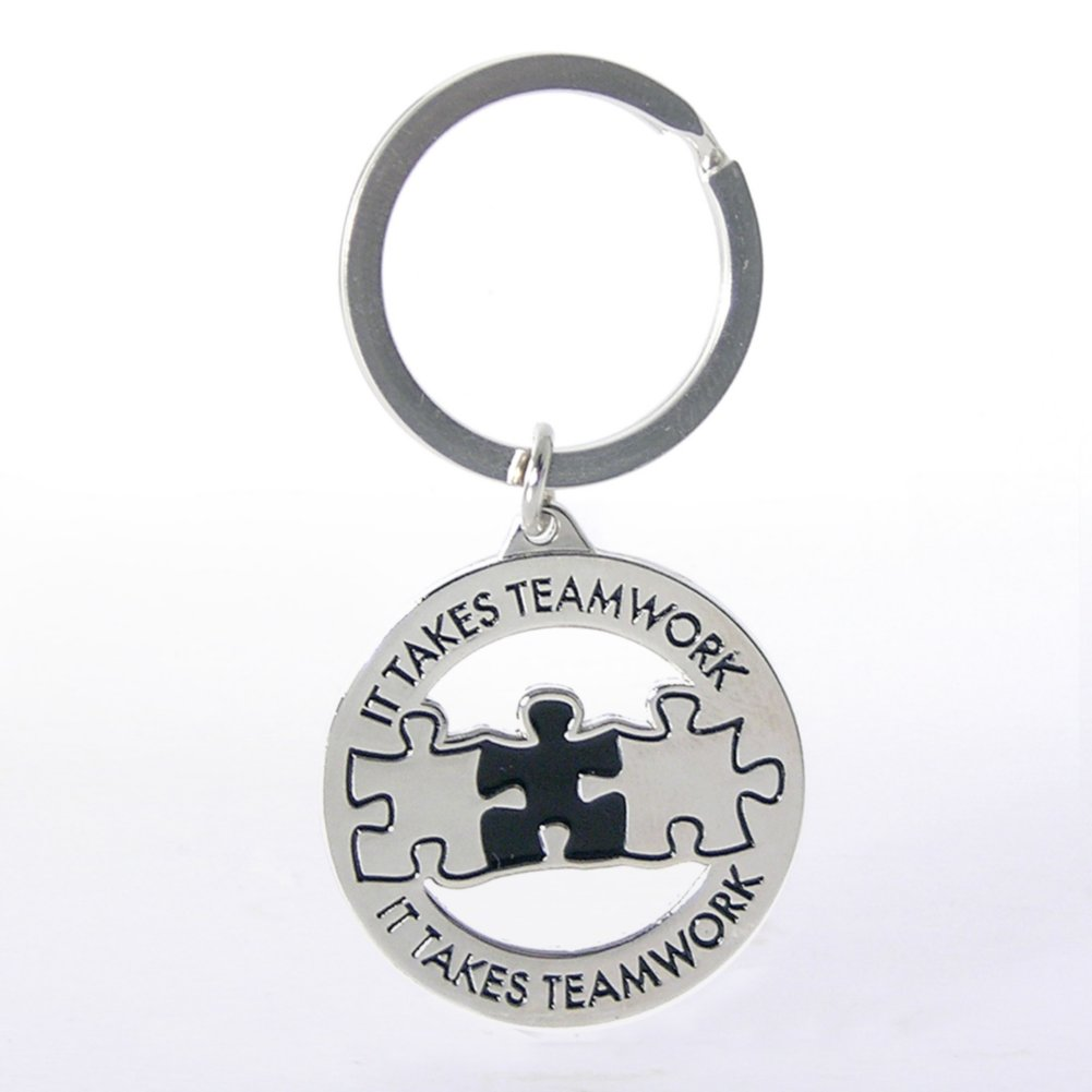 View larger image of Nickel-Finish Key Chain - It Takes Teamwork