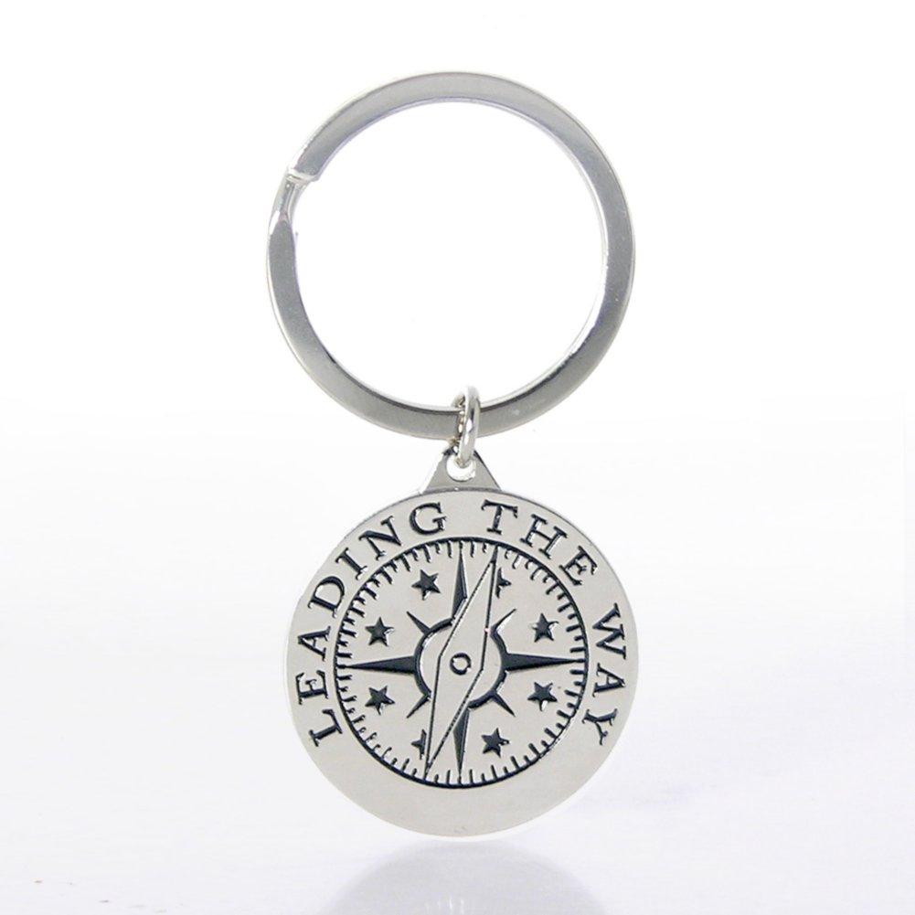 Nickel-Finish Key Chain - Compass: Leading the Way