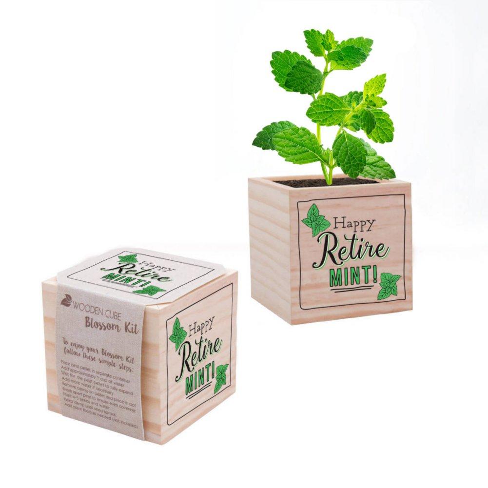 View larger image of Appreciation Plant Cube - Happy Retire-mint
