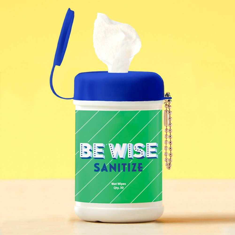 View larger image of Carry On Sanitizing Wipe Keychain - 5pk - Be Wise
