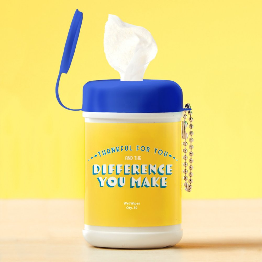 View larger image of Carry On Sanitizing Wipe Keychain - 5pk - Difference You Make