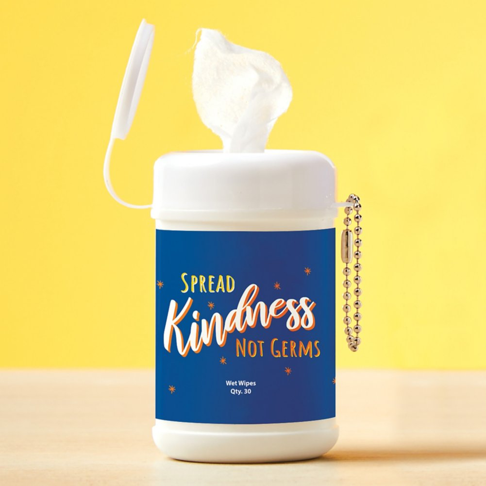 View larger image of Carry On Sanitizing Wipe Keychain - 5pk - Spread Kindness