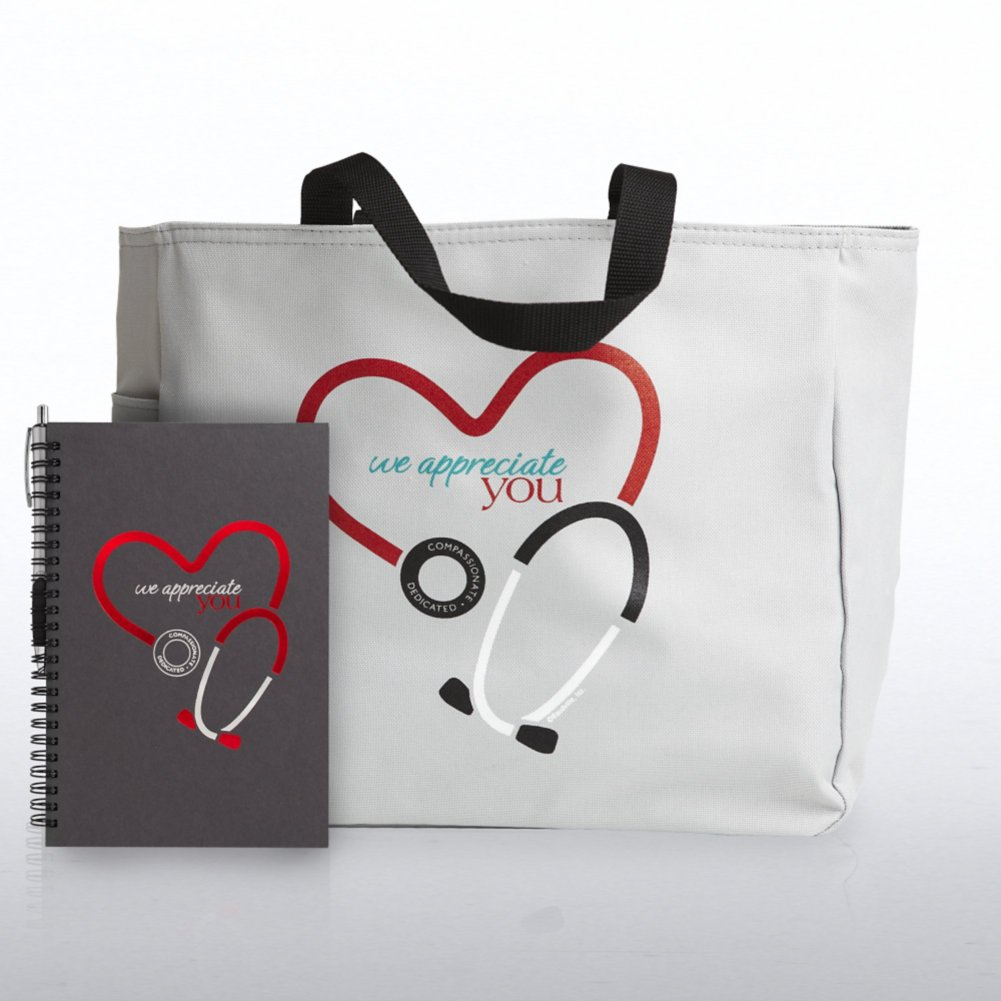 View larger image of Journal, Pen & Tote Gift Set - Stethoscope: We Appreciate...