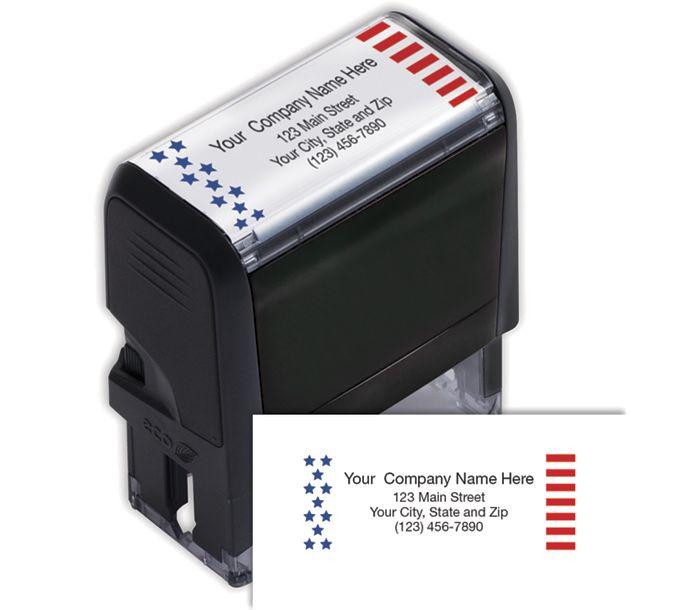 102167-Name & Address Patriotic Stamp - Self-Inking102167