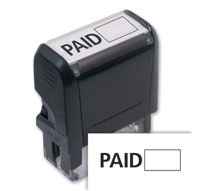 103007-Paid w/ Open Box Stamp - Self-Inking103007