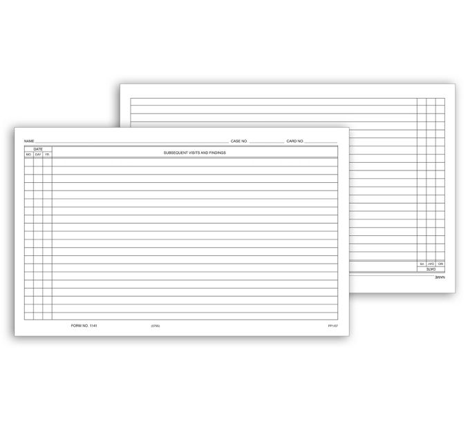 1141-Continuation Exam Records, Card Style, w/o Account Record1141