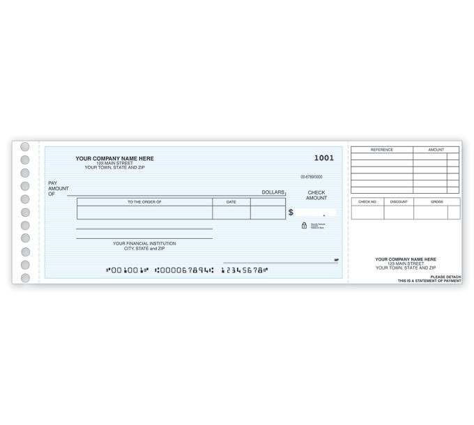118011N-Long Stub Disbursement Check118011N