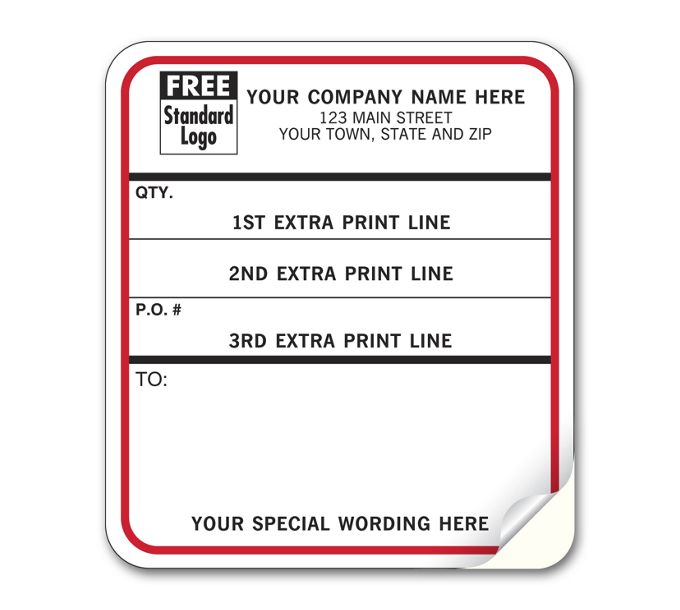 Shipping Content Labels, Padded, White w/ Black & Red1202