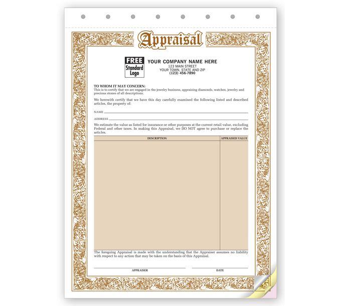 128-Appraisal Form - Jewelry Appraisal Forms128