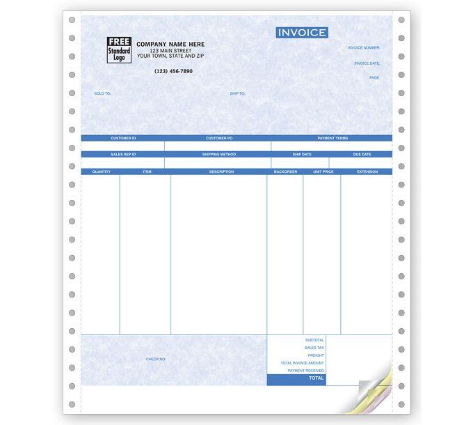 Product Invoices, Continuous, Parchment13477G