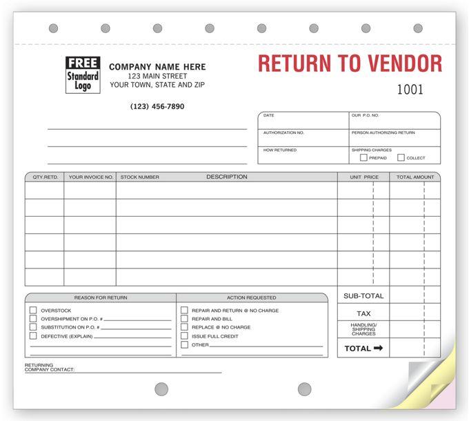 Return to Vendor Forms Sets139