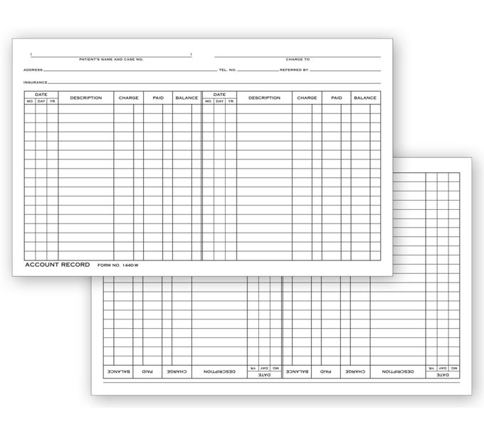 Account Record Billing Card, Double Entry1440W