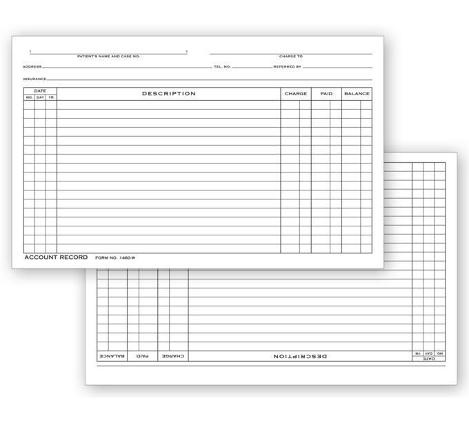 Account Record Billing Card, Single Entry1460W