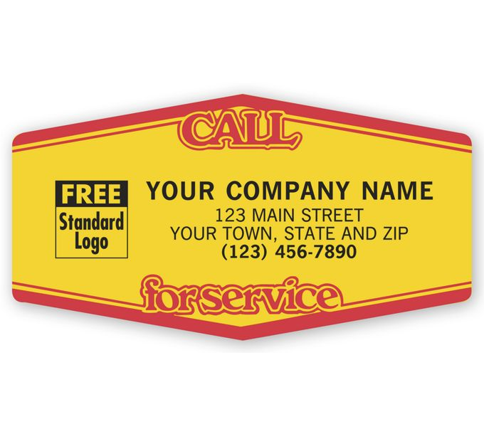 1513-Call For Service, Tuff Shield Labels, Yellow with Red1513