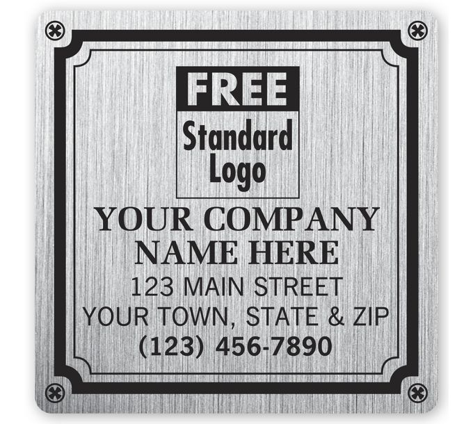 """1520-Weatherproof Plate Label, Brushed Silver Poly, 3 X 3""""1520"""
