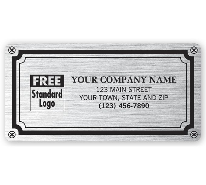 """1521-Weatherproof Plate Label, Brushed Silver Poly, 4 X 2""""1521"""