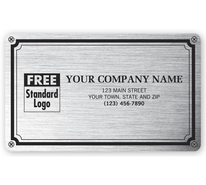 """1522-Weatherproof Plate Label, Brushed Silver Poly, 5 X 3""""1522"""