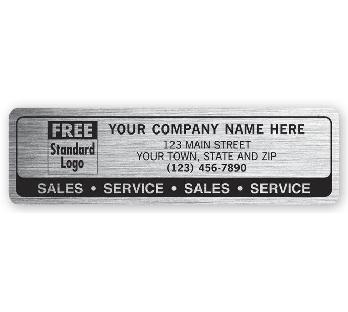 1593-Sales Service Labels, Brushed Chrome Poly Film1593