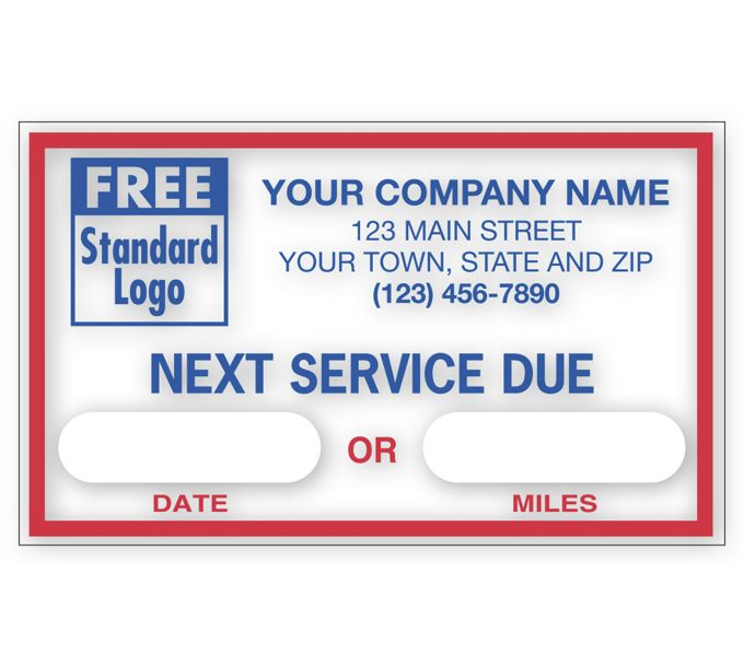 """1690A-Static Cling Windshield Labels, """"Next Service Due""""1690A"""