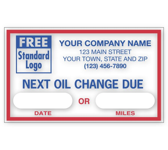 """1690C-Static Cling Windshield Labels, """"Next Oil Change Due""""1690C"""