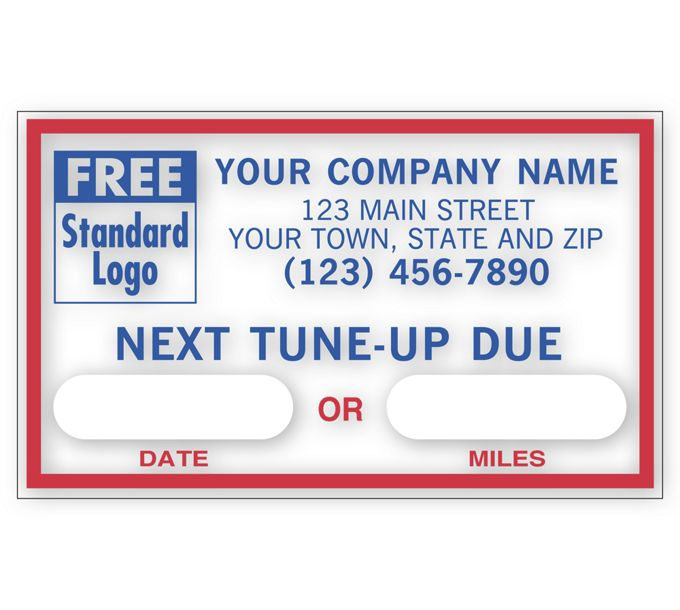 1690D-Next Tune-Up, Static Cling Windshield Labels1690D