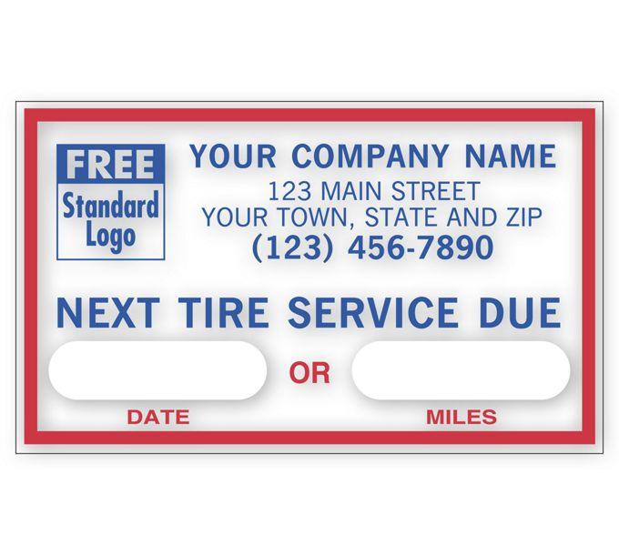 1690E-Next Tire Service, Static Cling Windshield Labels1690E