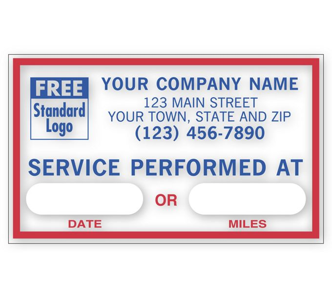 1690F-Service Performed At, Static Cling Windshield Labels1690F