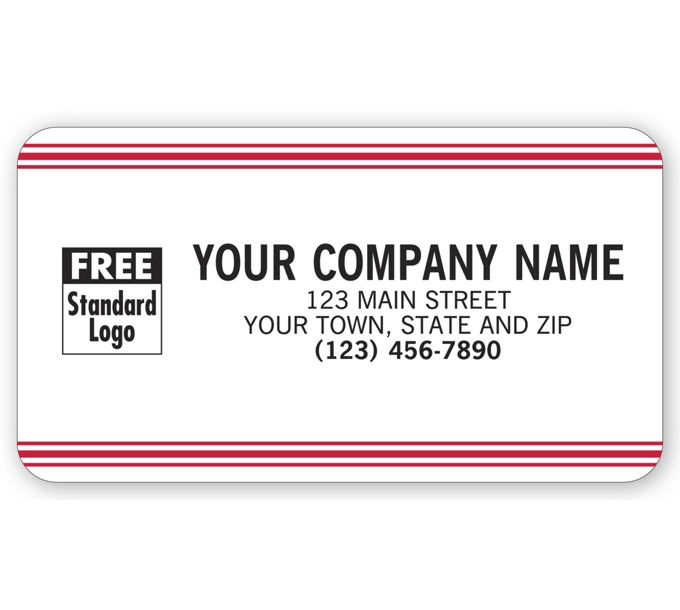 Advertising Labels, White with Red Stripe1708