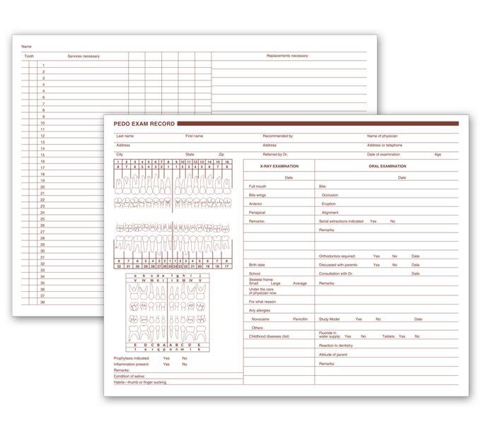 20092-Pediatric Dental Exam Record, Two - Sided20092