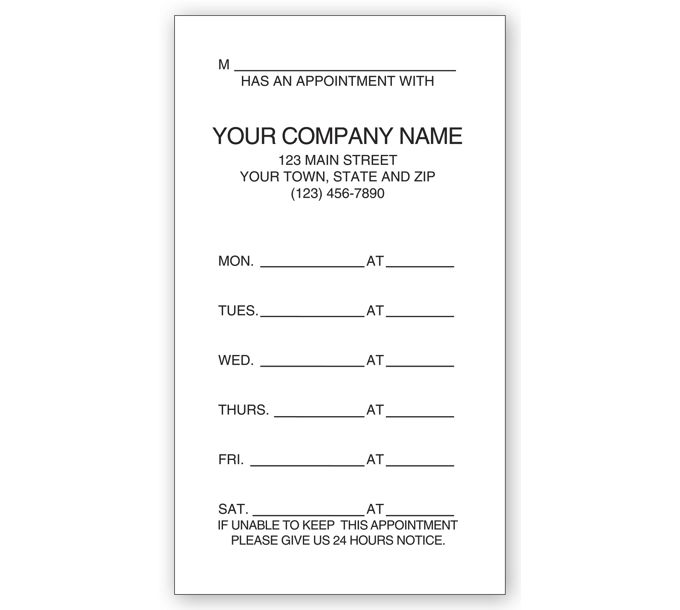 200-One - Sided Appointment Business Cards, Imprinted200