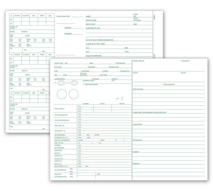20606-Optometry Vision Exam Analysis Records, 2 Side20606