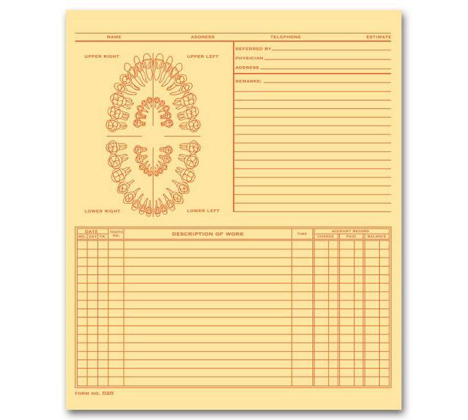 20912-Dental Exam Record, Unnumbered Teeth, Folder Style, Buff20912