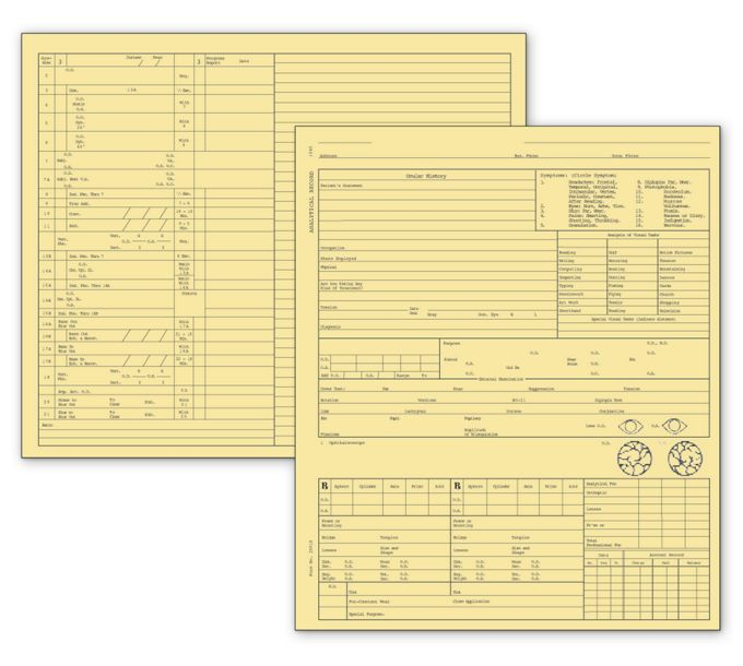 20918-Optometry Exam Record Form, Folder Style - Card File, Buff20918