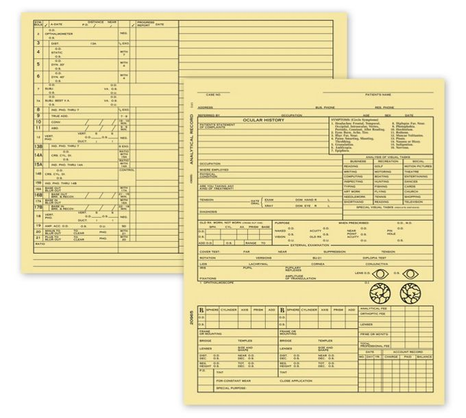 20965-Optometry Exam Record Form, Folder Style - Card File20965