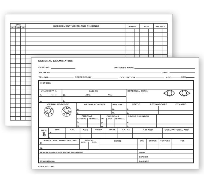"""20972-Optometry Record Card, Two - Sided, 4"""" x 6""""20972"""