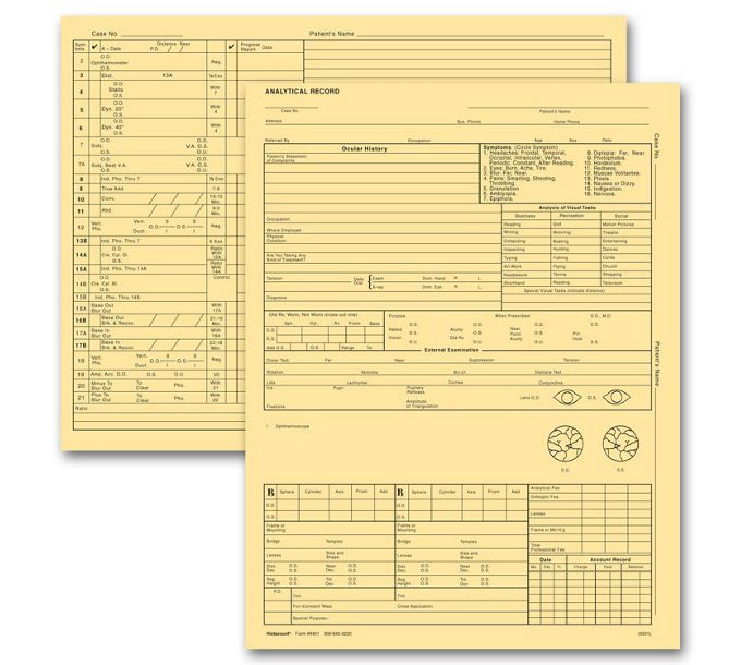 20974-Optometry Exam Record Form, Letter Style, Buff20974