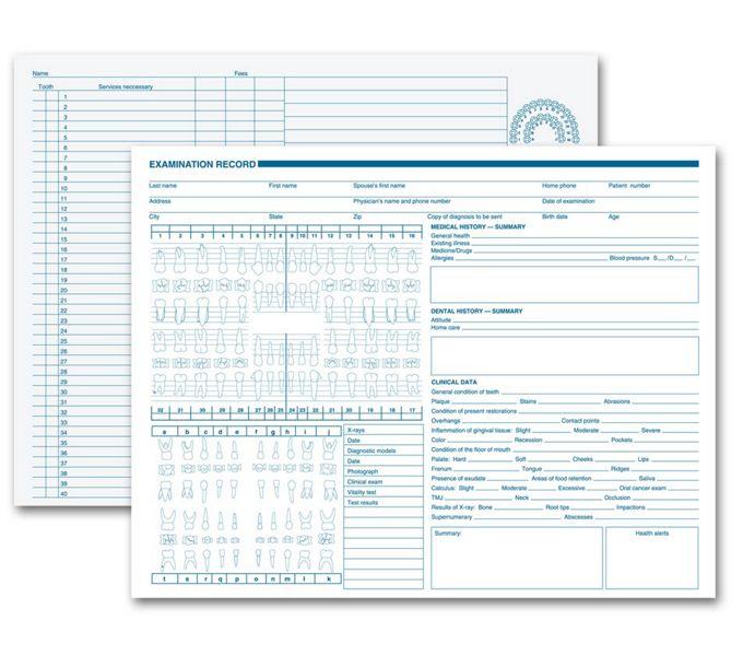 21019-Dental Exam Record, Anatomic Diagrams, Horizontal Format21019