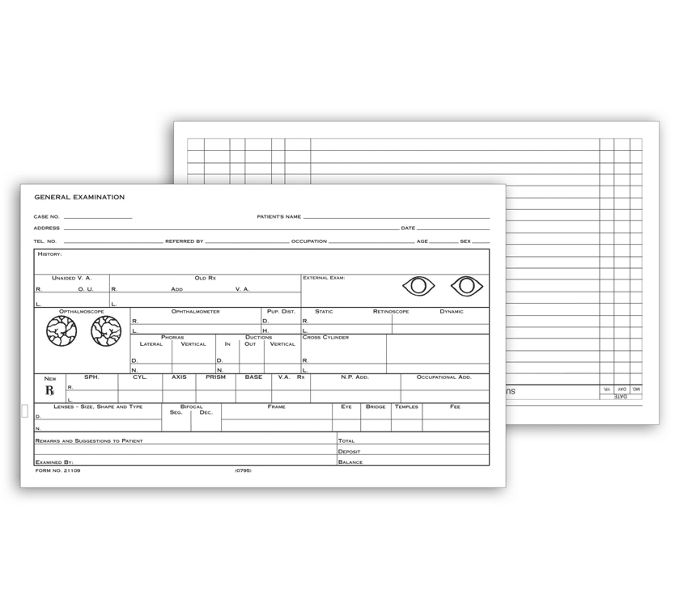 """21109-Optometry Record Card, Two-Sided, 5"""" x 8""""21109"""