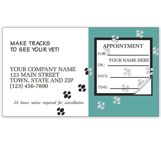 23045-Veterinary Appointment Cards, Paws Design23045
