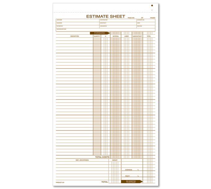 237-Estimate Sheets237