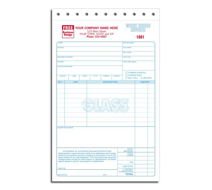 Glass Repair Work Orders - Sets2520
