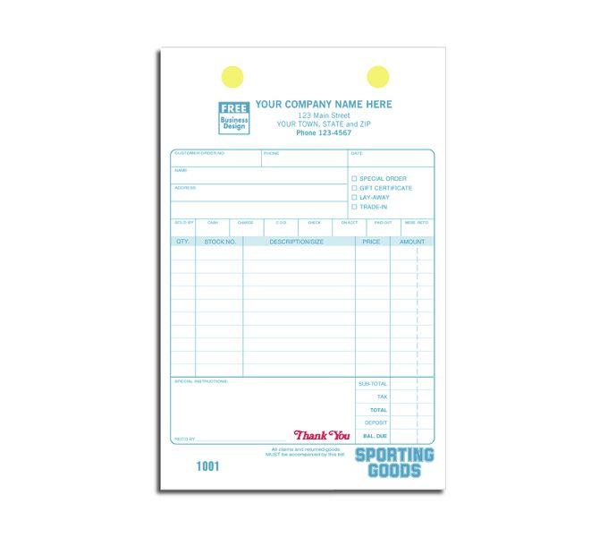 Sporting Goods Register Forms2522