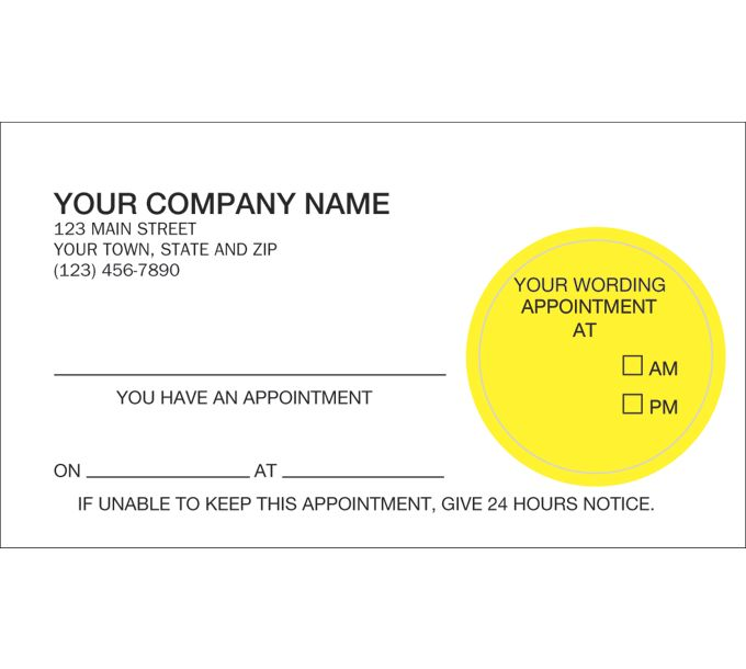 25832-Peel and Stick Appointment Card, Imprinted25832