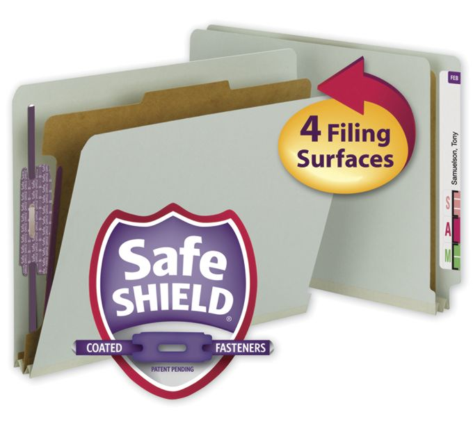 Smead End Tab Folder with SafeSHIELD Fasteners, 25 PT26800
