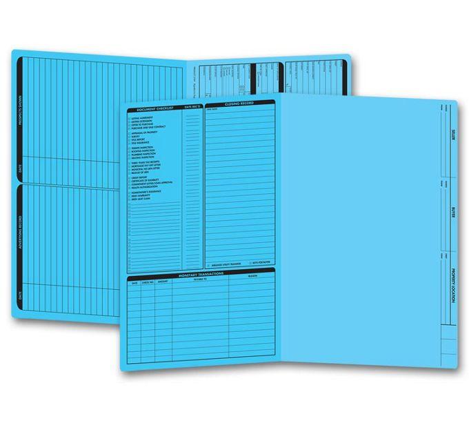 Real Estate Folder, Left Panel List, Legal Size, Blue286B