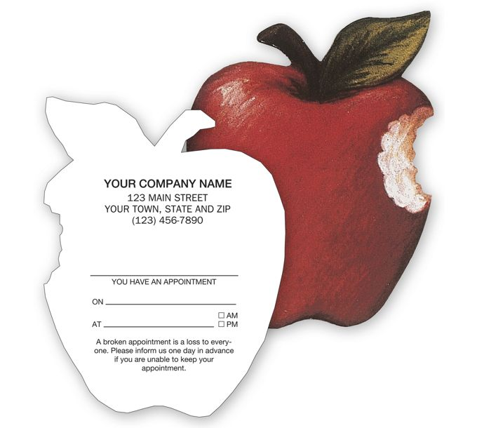 29189-Die-Cut Apple Shaped Appointment or Business Card, Imprinted29189